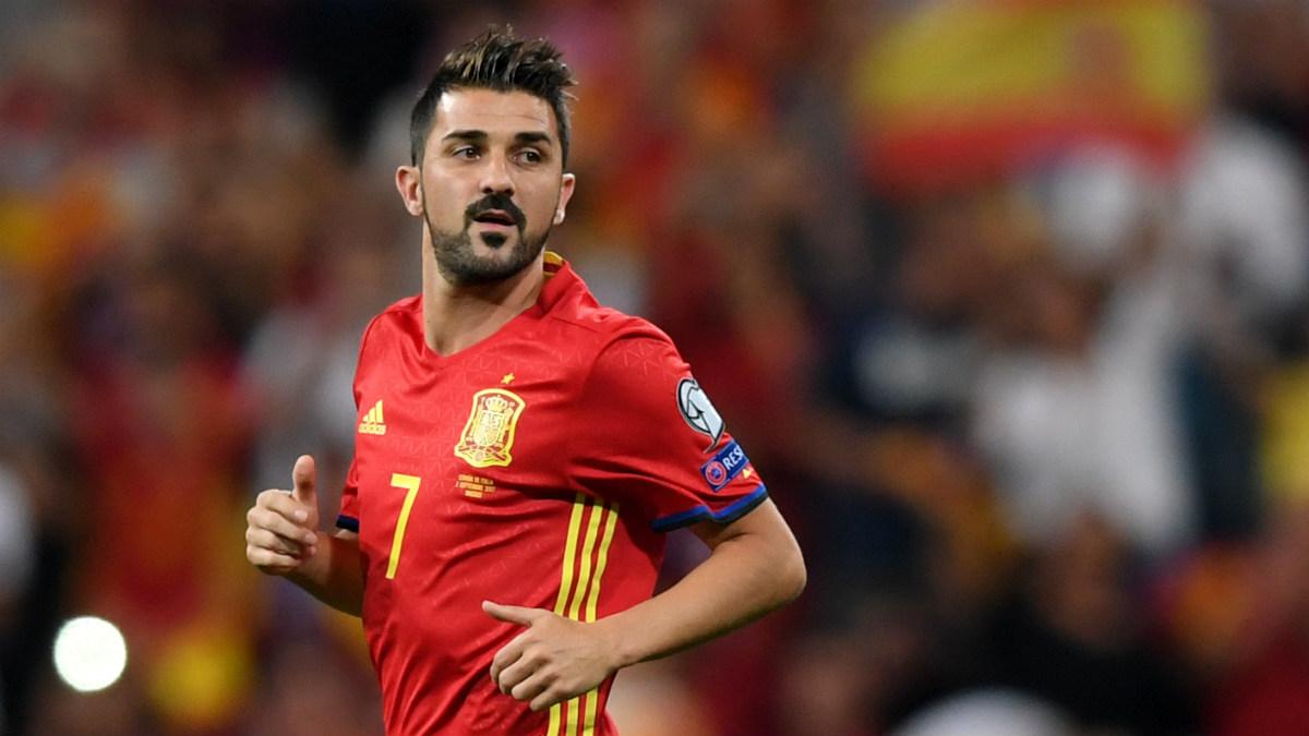 David Villa durante el partido contra Italia. (AFP)