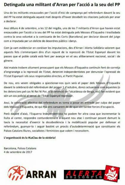 """La CUP duda que se celebre el referéndum porque los Mossos """"se dedican a detener a independentistas"""""""