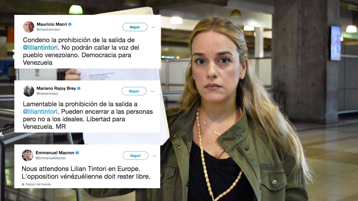 Lilian Tintori y tuits con muestras de apoyo de líderes internacionales.