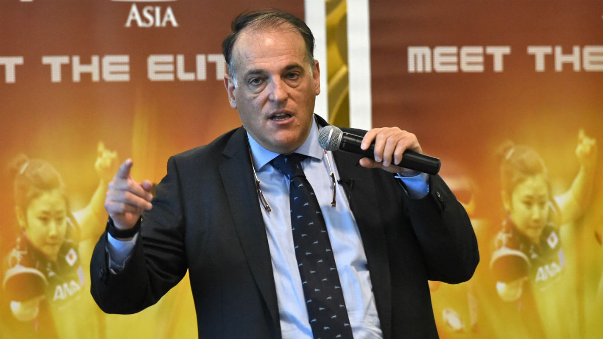 Javier Tebas, en un discurso en Asia. (AFP)