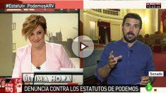 Cristina Pardo entrevista a Ramón Espinar en 'Al Rojo Vivo' (laSexta).
