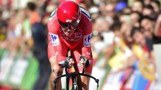 Froome, en la parte final de la etapa de la Vuelta a España. (AFP)