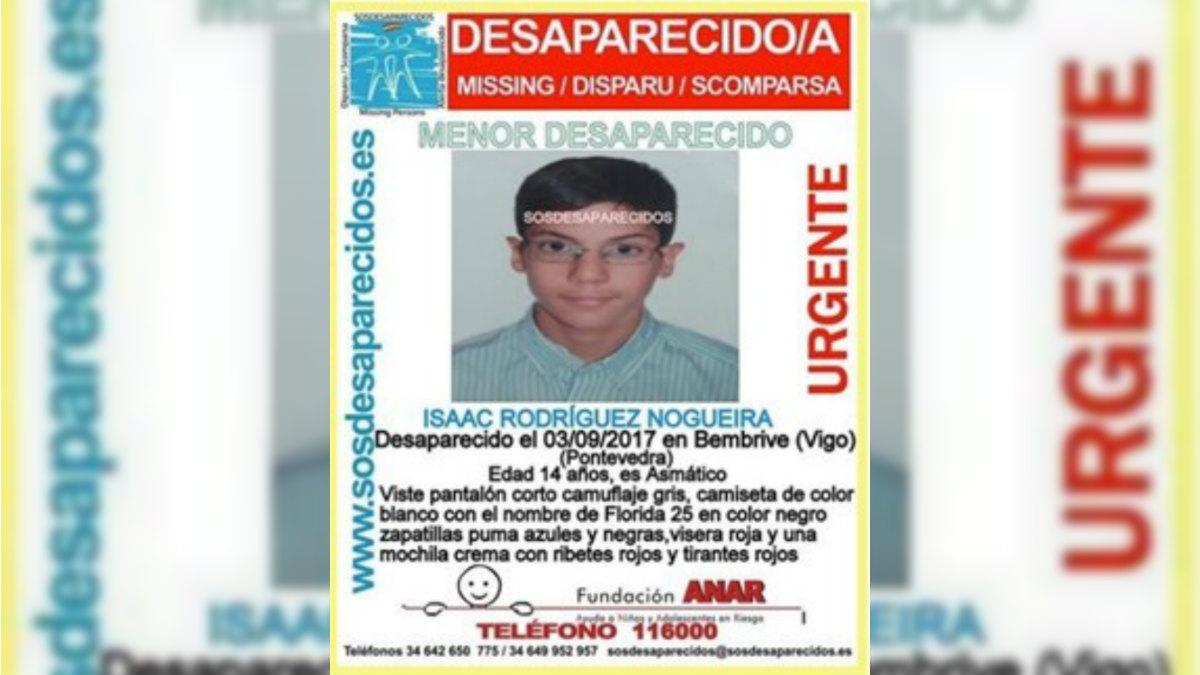 Isaac Rodríguez NOgueira, menor desaparecido en Vigo. (SosDesaparecidos)
