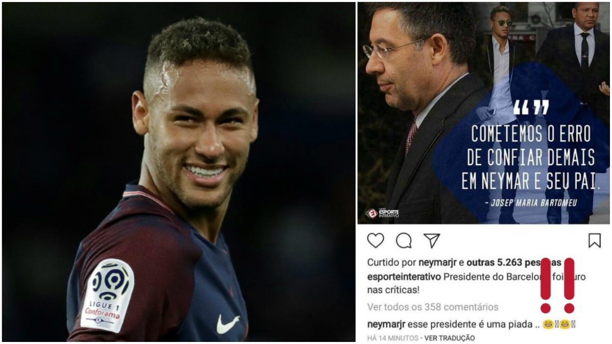 Neymar, en una foto de archivo, junto a la captura de su mensaje.