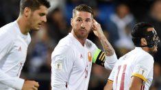 Sergio Ramos celebra el primer gol a Liechtenstein. (AFP)