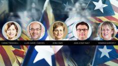 Los cinco miembros de la Mesa del Parlamento de Cataluña
