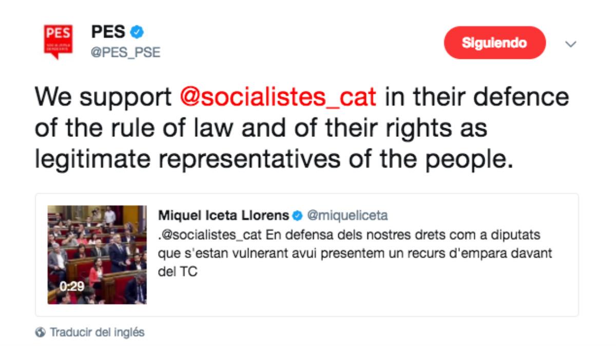 Los socialistas europeos han apoyado al PSC contra el desafío independentista.