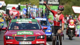 Sander Armée celebra su victoria en la etapa 18º de la Vuelta. (AFP)