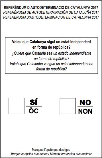 Esta es la papeleta para el referéndum independentista del 1-O