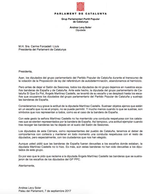 Carta de Andrea Levy a Forcadell