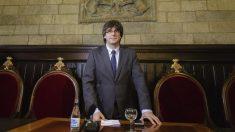 Carles Puigdemont en el Ayuntamiento de Gerona.