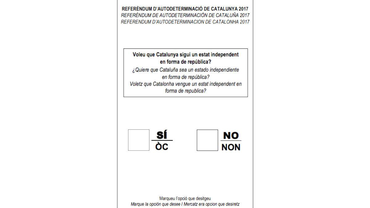 Esta es la papeleta para el referéndum independentista del 1-O  (Foto: Generalitat)