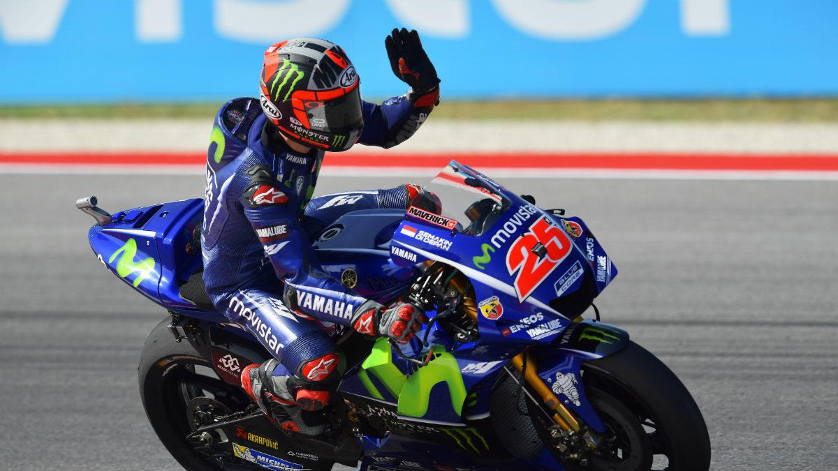 Maverick Viñales celebra su pole en San Marino. (AFP)