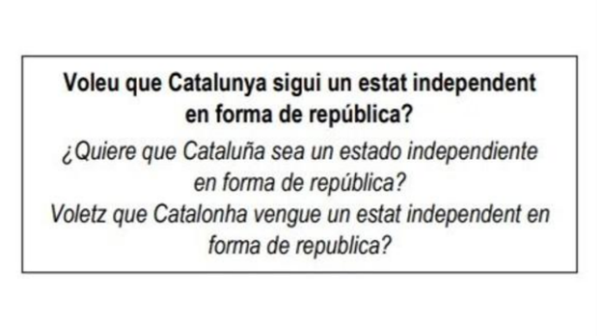 La pregunta planteada en tres catalán, castellano y occitano, en la papeleta del referéndum de independencia.