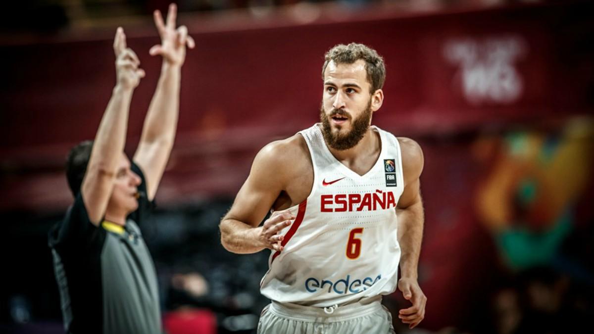 Sergio Rodríguez celebra una canasta. (FIBA)