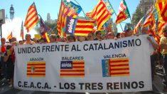 Manifestación contra la 'catalanización' Foto: Coordinadora de entidades de la Antigua Corona de Aragón.
