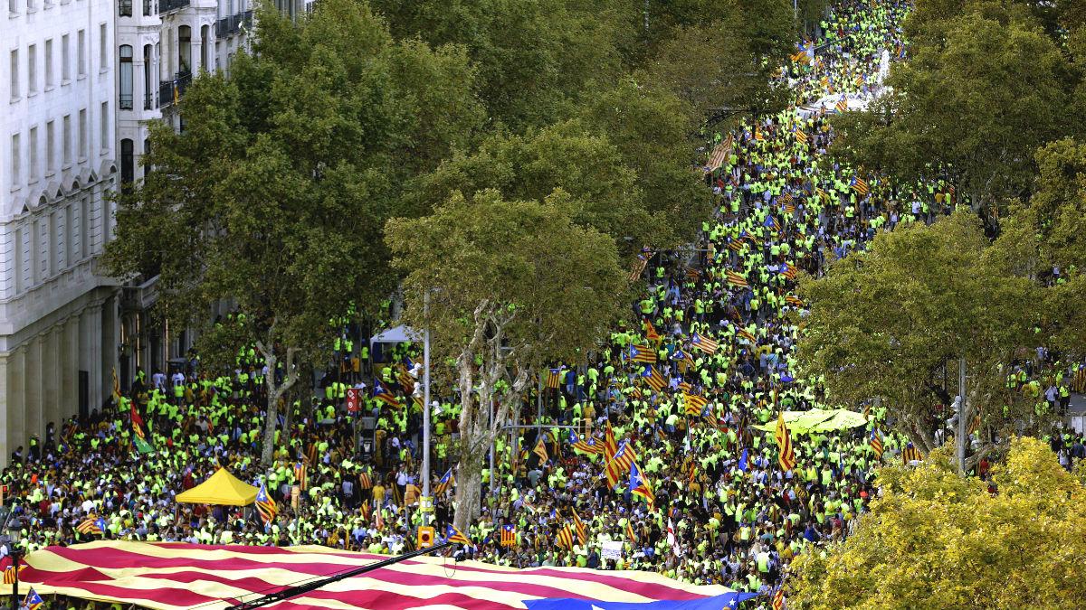 Un momento de la tradicional manifestación convocada por la ANC con motivo de la Diada del 11 de septiembre (Foto: Efe)