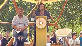Ada Colau, durante su discurso de la Diada.