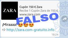 La Policía Nacional alerta sobre un nuevo timpo de cupones falsos en Whatsapp, esta vez referente a Zara.