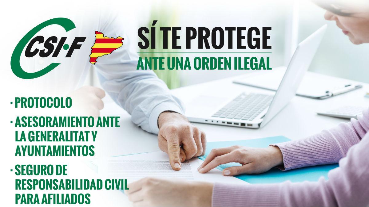 folleto explicativo sobre el protocolo ante órdenes ilegales en Cataluña (Fuente:CSIF)