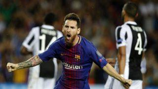 Messi celebra uno de sus goles ante la Juventus. (EFE)