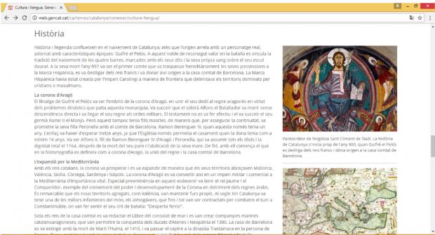 """La Generalitat manipula la Historia y habla de los inexistentes """"reyes catalanes"""" en su página web"""