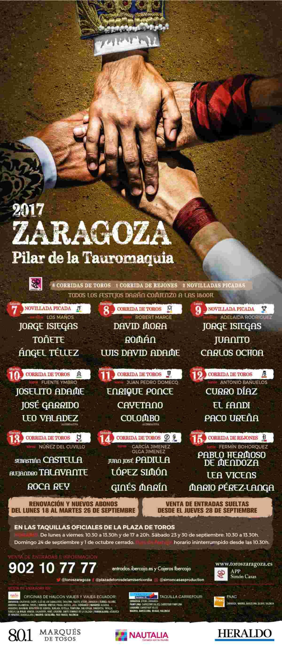 Cartel de Toros de las Fiestas de Pilar 2017