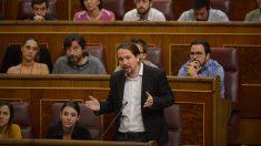 El líder de Podemos, Pablo Iglesias, interviniendo en el Congreso de los Diputados. (Foto: Francisco Toledo)