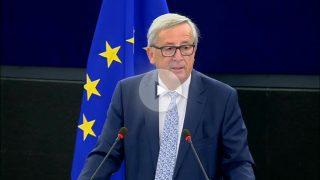 Jean-Claude Juncker, presidente de la Comisión Europea, durante su discurso del Debate sobre el estado de la Unión en la Eurocámara.