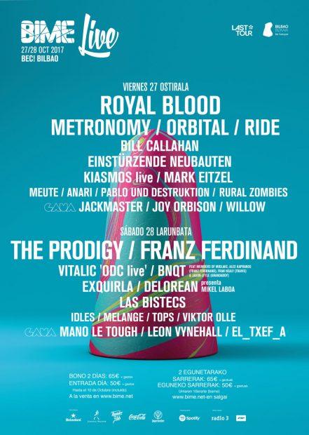 Cartel definitivo del festival BIME Live! que se celebrará en octubre el 27 y 28 de octubre.