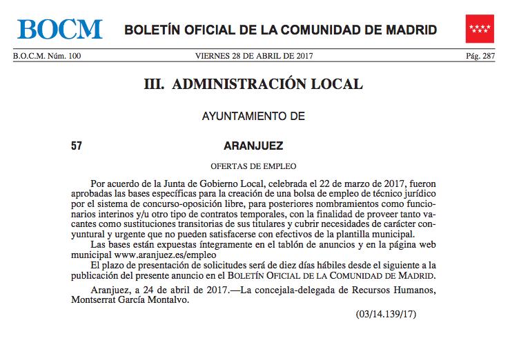 La alcaldesa socialista de Aranjuez convoca una plaza de abogado y la adjudica a un militante del PSOE