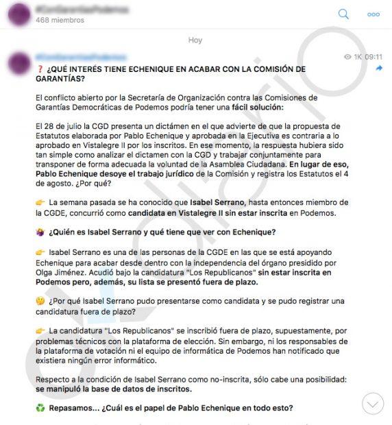 La trama de Echenique: así enchufó a una 'pablista' en la Comisión de Garantías