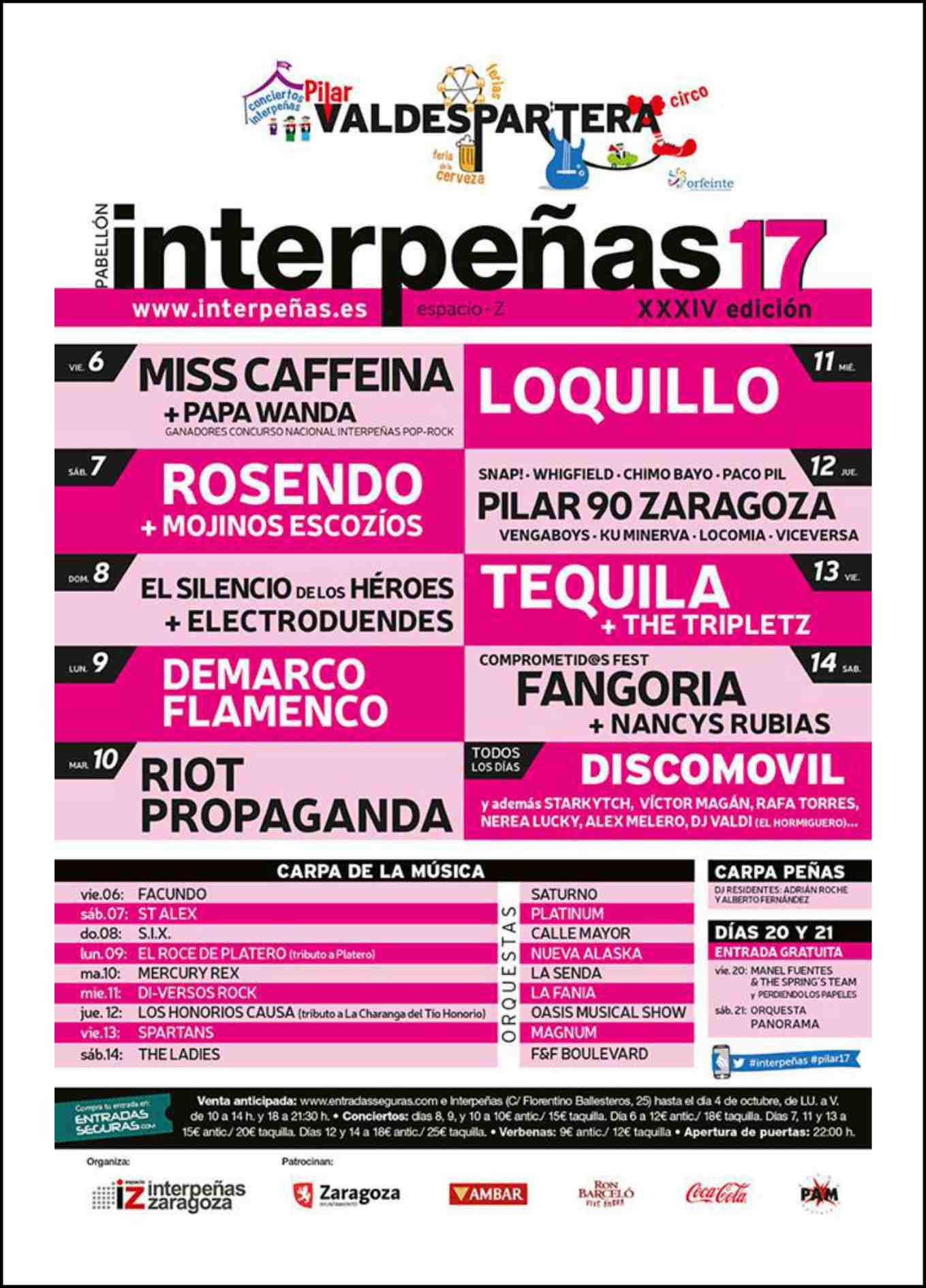 Conciertos de interpe as fiestas del pilar 2017 del 6 al for Apertura piscinas zaragoza 2017