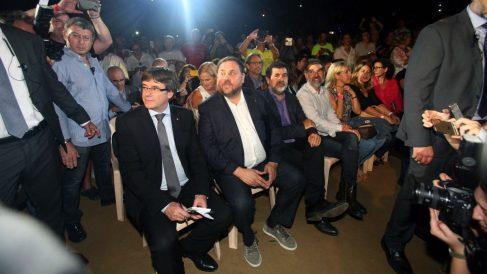 El ex presidente de la Generalitat Carles Puigdemont y su ex vicepresidente Oriol Junqueras.