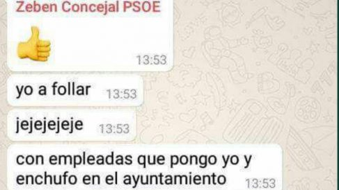 "El chat de Zebenzuí González jactándose ""follar con empleadas"" a las que enchufaba."