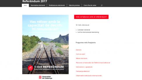 La web del referéndum ilegal de independencia.