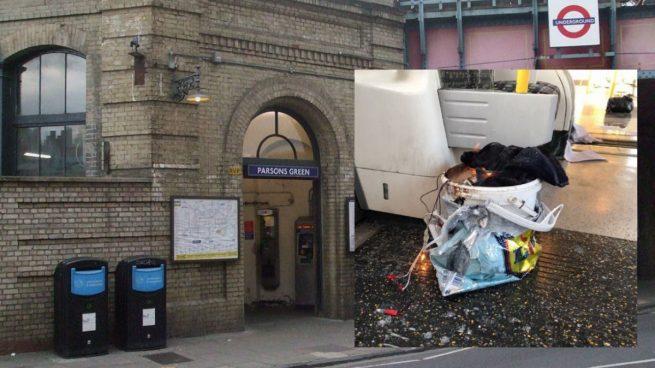 El artefacto que ha hecho explosión dentro del metro de Londres en la parada de Parson Greens. Foto: Twitter