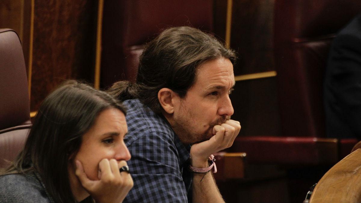 Pablo Iglesias e Irene Montero, en el Congreso. Foto: Francisco Toledo.