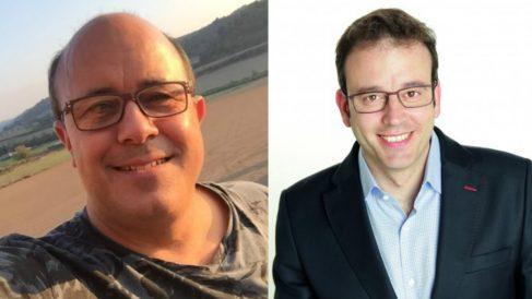Ramón Royes, alcalde de Cervera, y Marc Solsona, alcalde de Mollerussa. Ambos regidores pertenecen al PDeCat y han sido citados por la Fiscalía por apoyar el 1-O ilegal.