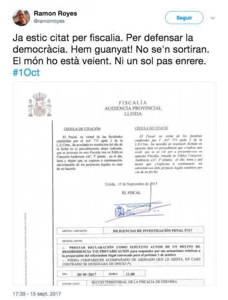 Ramon Royes alcalde de Cervera se muestra orgulloso ante la citación del Fiscal por apoyar el 1-O declarado ilegal.