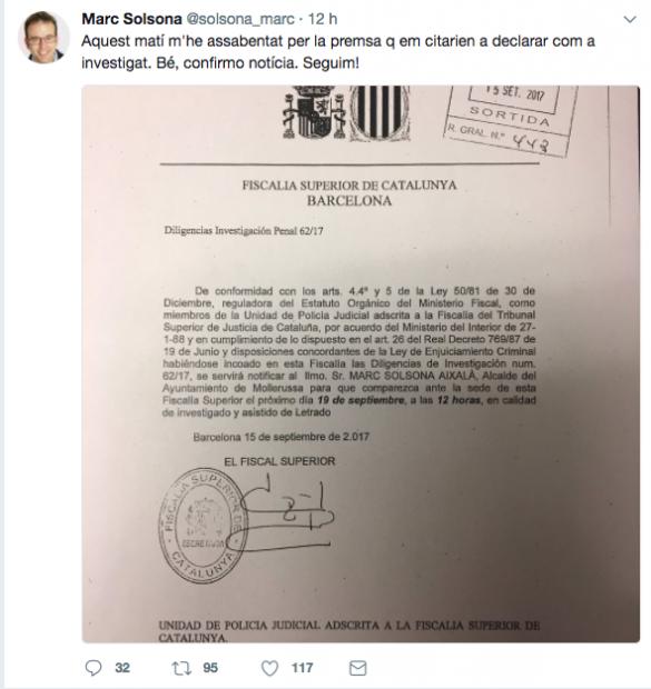 El alcalde de Mollerussa (PDeCat), Marc Solsona, es citado por la Fiscalía como investigado por apoyar el referéndum declarado ilegal.
