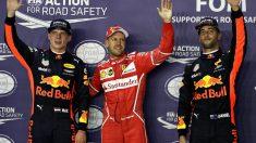 Sebastian Vettel, Max Verstappen y Daniel Ricciardo (Getty)