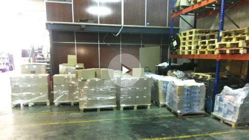 Las cajas intervenida con carteles y folletos en Montcada (Foto: Ministerio del Interior).