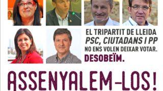 Cartel de Arran, las juventudes de la CUP, señalando a los ediles contrarios al referéndum ilegal.