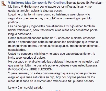 Compromís carga contra los padres de los niños autistas a los que se les niegan clases en castellano