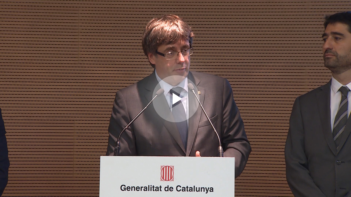 Carles Puigdemont durante la rueda de prensa.