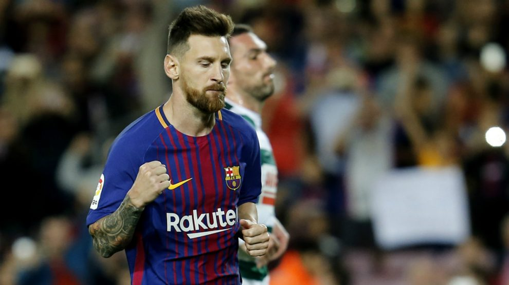 Leo Messi celebra con rabia uno de sus goles. (Foto: AFP)