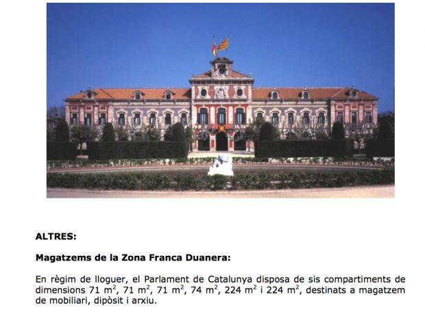 Presupuesto del Parlamento de Cataluña.