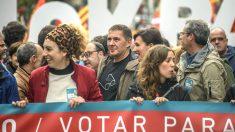 Arnaldo Otegi en una manifestación a favor del referéndum ilegal en Cataluña. (Foto: EFE)