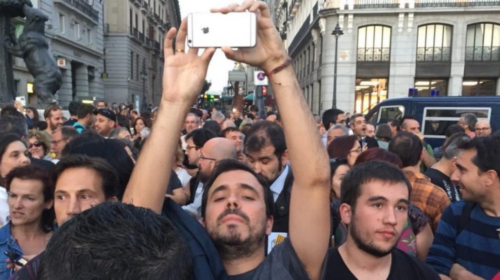 Alberto Garzón en la manifestación de la Puerta del Sol